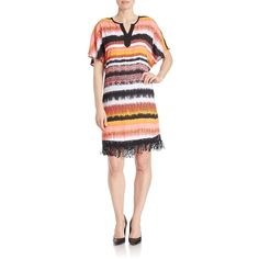 Kensie Fringed Blurred-Stripe Shift Dress ($109) ❤ liked on Polyvore featuring dresses, red, fringe dress, red shift dress, short fringe dress, red stripe dress and shift dress