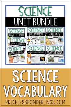 Disorganized and stressed out? Don't spend time planning your elementary science curriculum when you can easily teach your students about plants and animals with these fun worksheets and activities. Vocabulary Word Walls, Science Vocabulary, Science Curriculum, Vocabulary Cards, Science Resources, Science Activities, Plant Science, Life Science, Second Grade Science