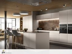 Contemporary lux kitchen with matt handless doors and textured 12mm worktop. The kitchen is integral to the open plan living space, utilizing open shelving, bridge units, concealed lighting and an island with breakfast bar. A modern architecture layout in a converted factory space. Polished black floor tiles contrast with the textured copper tone worktops. CGI photography by http://www.setvisionspix.co.uk/ Great idea for home renovation
