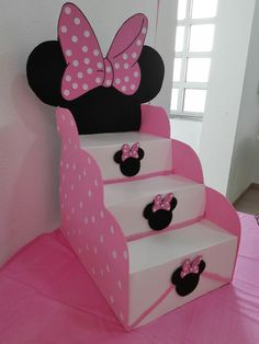 How to Make Candy Ladder for Children& Party Step by Step - Journi - Minnie Mouse Theme Party, Minnie Mouse 1st Birthday, Minnie Mouse Baby Shower, Mouse Parties, Baby Birthday, 1st Birthday Parties, Birthday Ideas, Minne, Sugar Jar