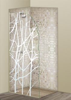 Shower Divider Panel featuring the Bramble design in the 1D Positive Clear effect by Sans Soucie Art Glass. Design elements are sandblast etched on the top surface of smooth, clear glass, and are solid white shapes.  This effect is considered semi-private, as the clear glass background area of the glass, will vary by design.
