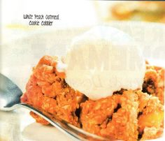 White Peach Oatmeal Cookie Cobbler