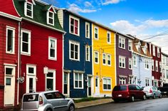 Colorful houses in St. John's Newfoundland by Elena Elisseeva Colourful Buildings, Colorful Houses, Stone Street, Blue Building, Newfoundland And Labrador, Newfoundland Canada, Blue City, New Brunswick, Rest Of The World