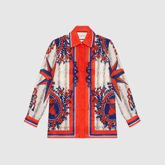 Gucci Women - Carillon print viscose-silk top - 430883ZHP519275