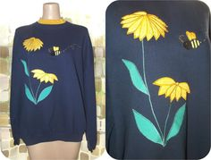 Vintage 80s Sunflowers & Bumble Bees Novelty by IntrigueU4Ever, $21.95