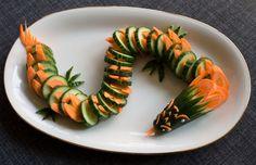 Fun food Kids Cucumber and Carrot Dragon buffet gurken Karotten Möhren Drache party salad salat Sinja78