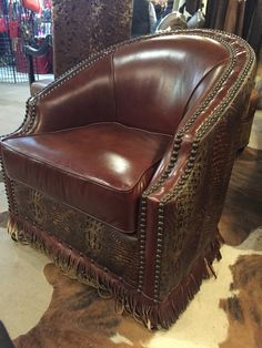 brown leather sofa accent chair cheapest l shape set cowhide western furniture belair swivel #custom # ...