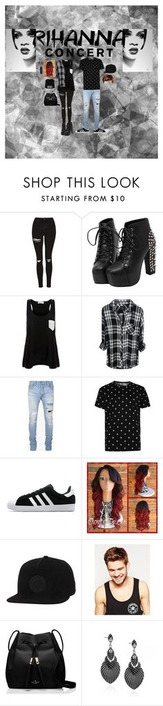 """""""Rihanna concert"""" by michellemaria08 on Polyvore featuring Mode, Topshop, Solid & Striped, Balmain, Topman, adidas, Converse, Toni & Guy, Kate Spade und L. Erickson"""
