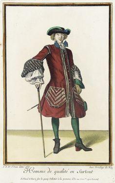 Recueil des modes de la cour de France, 'Homme de Qualité en Surtout' Jean Dieu de Saint-Jean  France, Paris, 1684