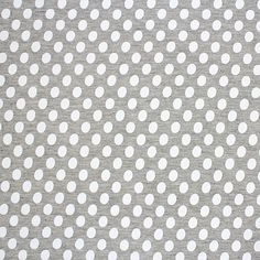 """White Oval Dots on Heather Gray Cotton Jersey Blend Knit Fabric - White oval shape dots on heather gray rayon jersey blend knit.  Fabric is soft and drapey, light to mid weight, with a nice stretch.  Please note that dots are screen printed onto the fabric.  Dots measure 1/2""""(see image for scale).  A versatile fabric that is great for many uses!  ::  $6.00"""