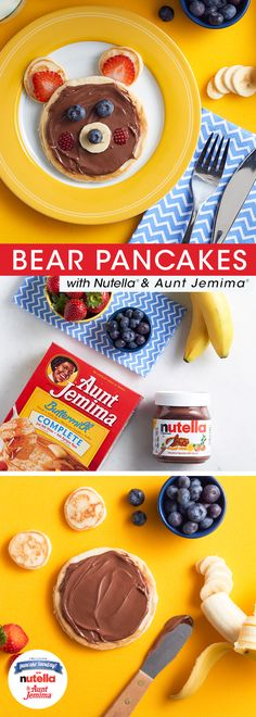 Nix the stuffed bear this Valentine's Day and serve this delicious one instead. It's super simple to make – you'll just need Aunt Jemima® pancake batter, Nutella® and an array of fresh fruit. Now that's a bearable V-Day breakfast.