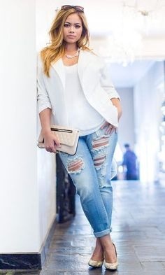 Best Denim Styles For Your Body Type + Brands to Wear | curvy, plus-size distressed denim with blazer | Divine Style
