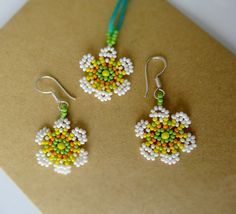 Spring Daisies Pendant and Earrings Set - white beaded flowers with cotton cord and sterling silver earwires handmade by Luciana Lavin