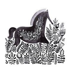 desenharts: by MirDinara - Only Drawings Horse Illustration, Graphic Design Illustration, Watercolor Horse, Watercolor Paper, Tattoo Watercolor, Scandinavian Folk Art, Art Sculpture, Grafik Design, Horse Art