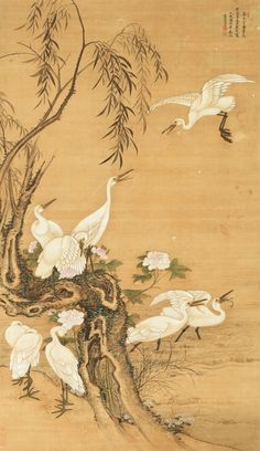 Leng Mei (Active 1691-1742), Nine White Egrets, ink and color on silk, hanging…                                                                                                                                                                                 More
