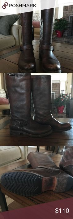 Frye Veronica Slouch Boots Frye Veronica Slouch distressed. Brown size 9.5 in great used condition. Frye Shoes Heeled Boots