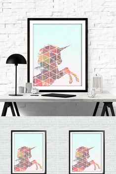 I love this awesome unicorn downloadable print. It's the perfect home decor for the bedroom, office, or nursery. #unicorn #printable #wallart #walldecor #homedecor #commissionlink