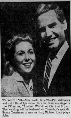 Susan Trustman and Michael M. Ryan (Another World) Wedding News, Another World, Daily News, Soaps, Tv Series, How To Plan, History, Classic, Movie Posters
