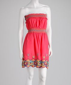 Take a look at this Coral Butterfly Trim Strapless Dress by Papillon Imports on #zulily today!