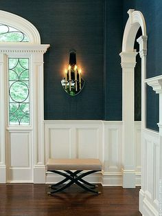 Blue and White Interior Architecture and Mouldings - laurel home | lovely classical entrance by David Scott