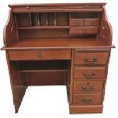 Solid Oak Wood Small Student Roll Top Desk Single Pedestal 42x24x45 Home Office Organizer Roll Top Desk Chelsea Home Furniture Desk