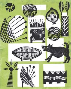 The Old Cells Studio - Michèle Brown Art: Waggy Dog modular print experiment - linocut and g...