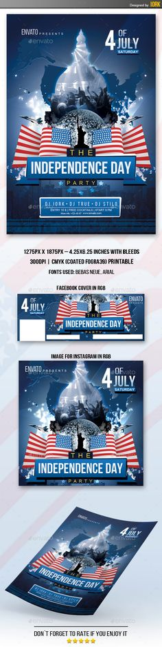 Th Of July Independence Day Flyer  Flyer Template Event Banner