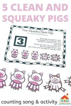 Looking for some farm theme circle time songs? Try 5 clean and squeaky pigs circle time song. It teaches counting and comes with a free printable. Add this circle time song to your farm theme preschool lesson plans.
