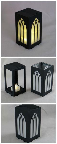 #lasercut paper lantern, 6x6x11cm, LED tea light.