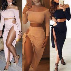 Sexy 2PCS Off Shoulder Crop Asymmetric Hem Bodycon Dress Suit Sets