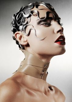 I love the styling of this image. Its very high fashion. This image stood of for me because its very different I feel. I love the way the hair is styled, this is what makes it interesting, it reminds me of snakes almost like a contemporary Medusa.