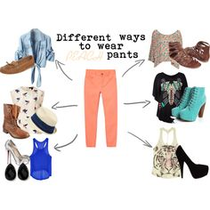"""""""6 different ways to wear PEACH pants!"""" by palekid456 on Polyvore"""