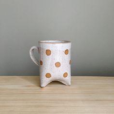 Ready to Ship / Polka dot handmade mug with three by MudToLife