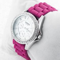 Hot pink and silver bling #fossilwatch RARE crystal hour markers