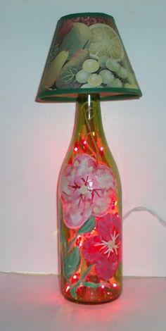 Wine Bottle Lamp - Handpainted Florals   HCLTreasures - Housewares on ArtFire, $25.00
