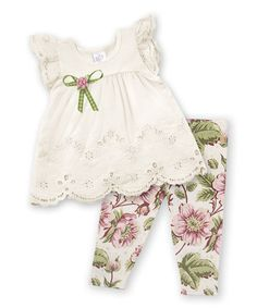 Another great find on #zulily! Ivory & Pink English Garden Eyelet Top & Leggings #zulilyfinds
