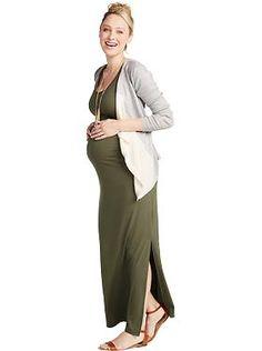 Old Navy - Maternity Maxi Tank Dress and Tie-Belt Cardi