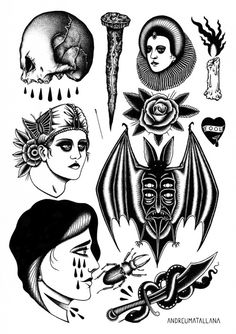 andreumatallana: New flash set available to tattoo at 19:28 Tattoo Parlour, Barcelona. Thanks!