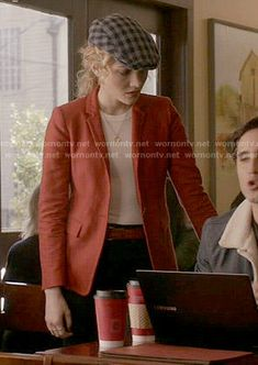 Grace's red blazer on Scream Queens.  Outfit Details: http://wornontv.net/53909/ #ScreamQueens