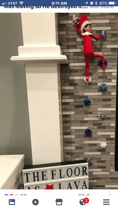 """The Floor is Lava!"" Elf-on-the-Shelf Idea ""The Floor is Lava!"" Elf-on-the-Shelf Idea Christmas Elf, All Things Christmas, Christmas Crafts, Christmas Ribbon, Christmas Carol, Elf Auf Dem Regal, The Floor Is Lava, Elf Magic, Elf On The Self"