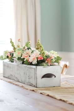 I'm in love I'm going to make this project ASAP DIY Farmhouse Wooden Box Centerpiece Kreg Jig Woodworking Rustic Home Decor Farmhouse Decor DiyCountryDecor Spring Home Decor, Easy Home Decor, Handmade Home Decor, Cheap Home Decor, Home Decorations, Christmas Decorations, Spring Decorations, Spring Crafts, Decor Crafts