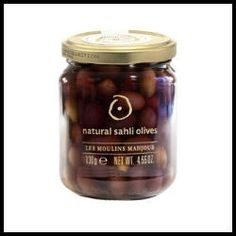Natural Sahli Olives.  The Mahjoub family secret recipe includes distinct mountain herbs in the curing process. The results are melt-in-the-mouth Sahli Olives that can be enjoyed as an appetizer or served in salads and sauces. - $6.50 (4.6 oz)