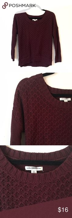 Burgundy Cable knit Sweater This American Eagle cable knit sweater is in great condition. It's a beautiful color! Reasonable offers welcome and don't forget to bundle for a discount. Xoxo-J American Eagle Outfitters Sweaters Crew & Scoop Necks