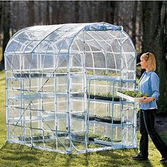 Large Pop-Up Greenhouse with shelf set Woodworking Guide, Custom Woodworking, Woodworking Projects Plans, Greenhouse Shed, Portable Greenhouse, Diy Storage Shed Plans, Diy Shed, Contemporary Greenhouses, Potting Sheds