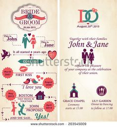 Wedding Invitation Card - Front and Back.  Infographic Style Template.