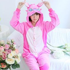 Unicorn Stitch Panda Unisex Flannel Hoodie Pajamas Costume Cosplay Animal Onesies Sleepwear For Men Women Adults