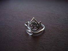 Sterling Silver Adjustable Om Lotus Ring