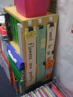 Classroom storage ideas. Like the idea of hanging sentence strips for standards by subject area.