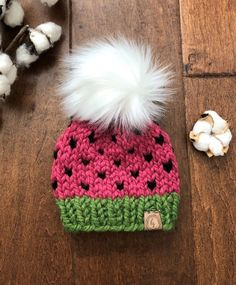 83f711302d Watermelon Baby Hat/NEWBORN-2 MO SIZE/Faux Fur Pom-Pom Hat/Knit Hat for  Baby/Newborn Knit Beanie/Sum
