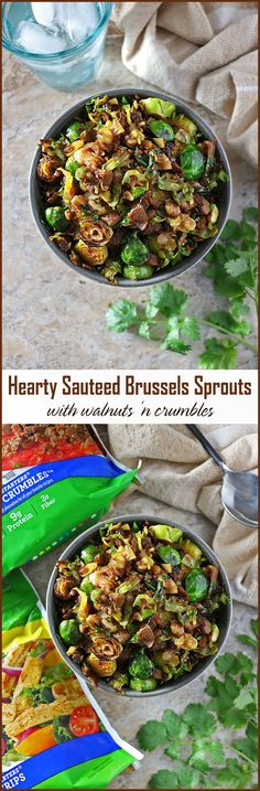 Hearty Sauteed Brussels Sprouts with Walnuts 'n Crumbles - Vegetarian Appetizers For Your Thanksgiving or Christmas /Holiday table #ad #VeryVeggieHoliday